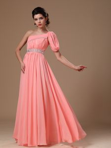 Watermelon Red One Shoulder Beading and Ruching Graduation Dress