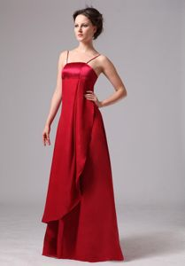 Spaghetti Straps Column Evening Dress For Graduation in Wine Red