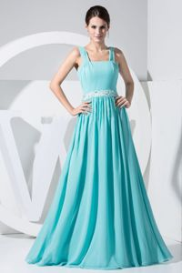 Straps Beading Aqua Blue Empire Graduation Dress For Evening