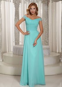 Off The Shoulder Ruched Aqua Blue Graduation Dress with Beading