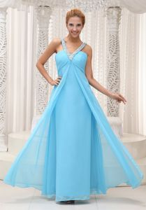 Aqua Blue Beaded Decorate V-neck Ruched Chiffon Graduation Dress