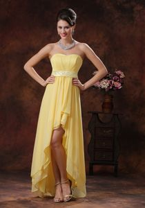 Strapless High-low Chiffon Graduation Dress in Yellow with Belt
