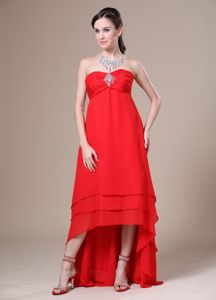 Red High-low Ruched Chiffon Senior Graduation Dress with Beading