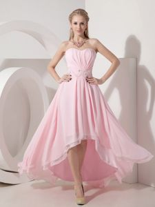 High-low Baby Pink Graduation Dress Sweetheart Chiffon Beading