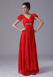 Cap Sleeves Beading V-neck Chiffon Red Chiffon Graduation Dress