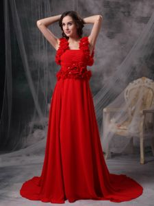 Beading and Hand Made Flower Square Chiffon Red Graduation Dress