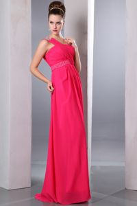 Beading One Shoulder Empire Chiffon Graduation Dress in Hot Pink