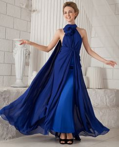 Blue Ruches Halter Column Chiffon Graduation Dress Watteau Train