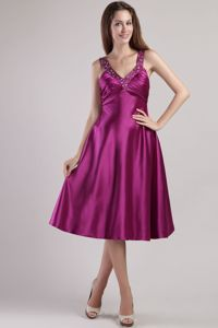 2013 Fuchsia Empire V-neck Ankle-length Beading Graduation Dress