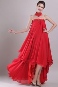Embroidery and Beading Strapless High-low Red Graduation Dress