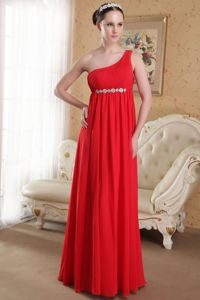 Beading and Ruches Red One Shoulder Plus Size Graduation Dress