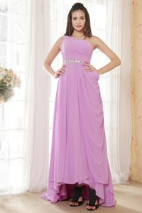 Ruches and Beading Lavender One Shoulder Grad Dress High-low