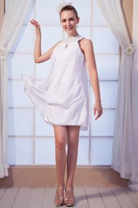 Beading Empire High-neck Graduation Dress in White Mini-length