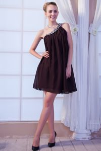 One Shoulder Mini-length Brown Empire Beading Graduation Dress