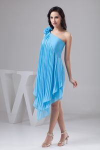 Asymmetrical Aqua Blue Pleated Graduation Dress with Flowers