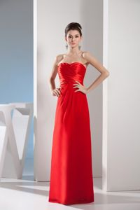 New Arrival Sweetheart Ruching Red Senior Graduation Dresses