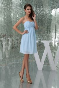 Ruching Baby Blue Sweetheart Chiffon Graduation Dress for Girls