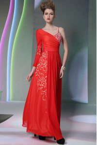 Ideal Long Sleeves Chiffon Floor Length Side Zipper Graduation Dresses in Coral Red with Beading and Embroidery