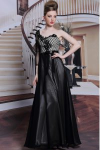 Delicate Asymmetric 3 4 Length Sleeve Side Zipper Graduation Dresses Black Chiffon