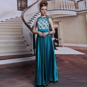 Scalloped Teal Clasp Handle Graduation Dresses Beading and Appliques Sleeveless Floor Length