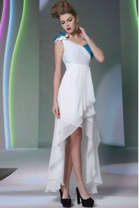 White Graduation Dresses Prom and Party with Ruffled Layers and Sequins and Hand Made Flower Asymmetric Sleeveless Side Zipper