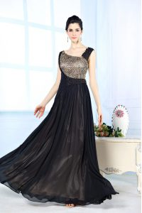Low Price Black Asymmetric Neckline Beading Graduation Dresses Sleeveless Side Zipper