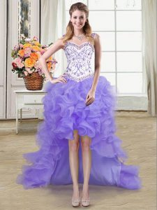 Modest Straps Lavender Sleeveless High Low Beading and Ruffles Lace Up Graduation Dresses