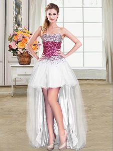 Cheap Ball Gowns Graduation Dresses White Sweetheart Tulle Sleeveless High Low Lace Up