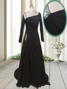 Graceful Chiffon Asymmetric Long Sleeves Sweep Train Side Zipper Beading Graduation Dresses in Black