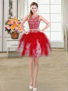 Charming Red Scoop Neckline Beading and Ruffles Graduation Dresses Sleeveless Zipper