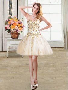 Luxurious Mini Length Lace Up Graduation Dresses Champagne for Prom and Party with Beading