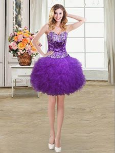 Luxurious Eggplant Purple Tulle Lace Up Sweetheart Sleeveless Mini Length Graduation Dresses Beading and Ruffles