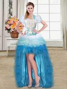 Multi-color Graduation Dresses Prom and Party with Beading and Appliques and Ruffles Sweetheart Sleeveless Lace Up