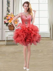 Sophisticated Straps Coral Red Sleeveless Beading and Ruffles Mini Length Graduation Dresses