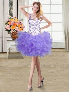Fancy Lavender Straps Neckline Beading and Ruffles Graduation Dresses Sleeveless Lace Up
