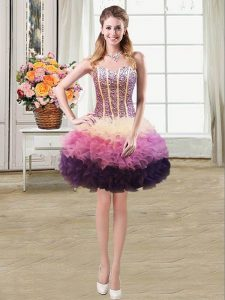 Multi-color Mermaid Organza Sweetheart Sleeveless Beading and Ruffles Mini Length Lace Up Graduation Dresses