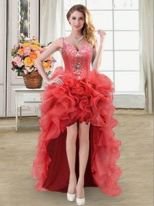 Excellent Coral Red Organza Lace Up Straps Sleeveless High Low Graduation Dresses Beading and Ruffles
