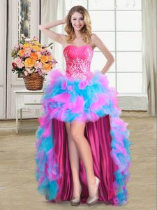 Nice Multi-color Ball Gowns Sweetheart Sleeveless Organza and Tulle High Low Zipper Beading and Ruffles Graduation Dresses