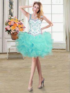 Customized Straps Sleeveless Beading and Ruffles Lace Up Graduation Dresses