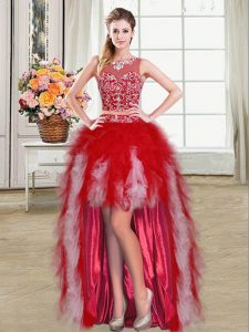 Lovely Scoop Red Ball Gowns Beading and Ruffles Graduation Dresses Zipper Tulle Sleeveless High Low
