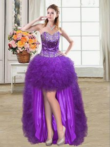 Clearance Sweetheart Sleeveless Graduation Dresses Mini Length Beading and Ruffles Eggplant Purple Tulle
