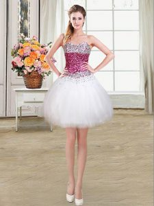 White Graduation Dresses Prom and Party with Beading Sweetheart Sleeveless Lace Up