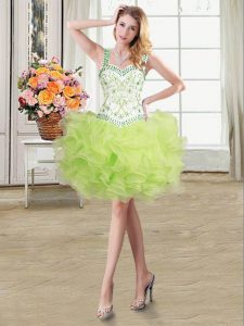 Fantastic Straps Sleeveless Lace Up Graduation Dresses Yellow Green Organza