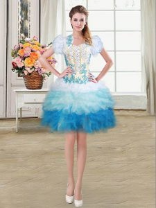Multi-color Lace Up Graduation Dresses Beading and Appliques and Ruffles Sleeveless Mini Length