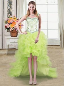Inexpensive Straps Sleeveless Beading and Ruffles Lace Up Graduation Dresses