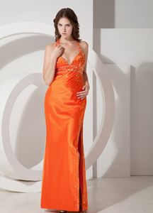 Orange Halter Beaded Ruching Graduation Ceremony Dress with Slit