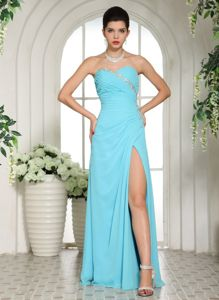 Aqua Blue High Slit Beaded Sweetheart Ruched Graduation Dress