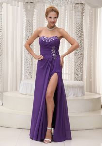 Sweetheart Beaded Purple Chiffon Graduation Dress for School