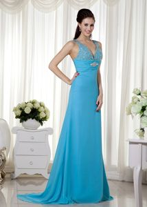 Baby Blue V-neck Beaded Train Chiffon Graduation Prom Dresses