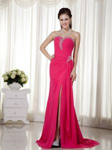 Sweetheart Beaded Train Chiffon Ruching Fuchsia Grad Dresses